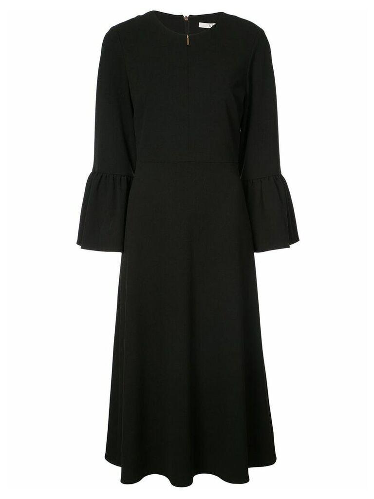 Tibi ruffle sleeve flared dress - Black