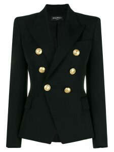 Balmain embossed button blazer - Black