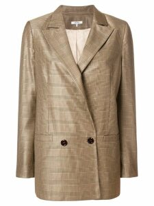Ganni check double-breasted blazer - Brown