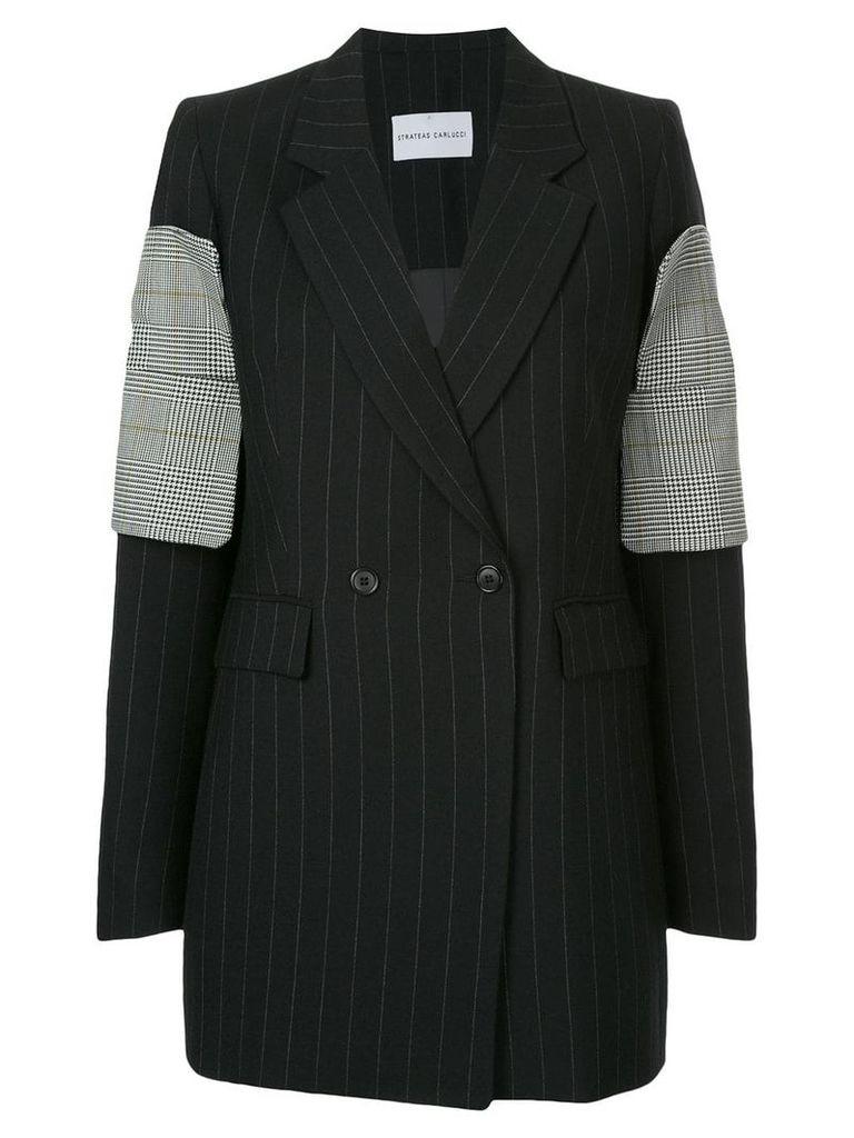 Strateas Carlucci striped plated cuff blazer - Black