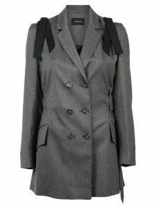 Simone Rocha bow shoulder mid-length blazer - Grey