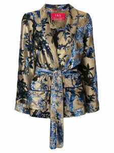 F.R.S For Restless Sleepers floral print belted blazer - Metallic