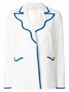 Sara Battaglia wave lapel blazer - White