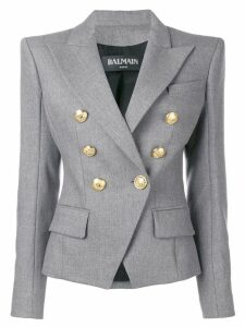 Balmain double breasted wool blazer - Grey