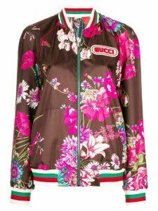 Gucci floral bomber jacket - Brown