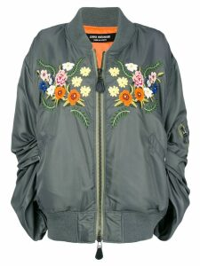 Junya Watanabe ruched sleeve embroidered floral bomber jacket - Green