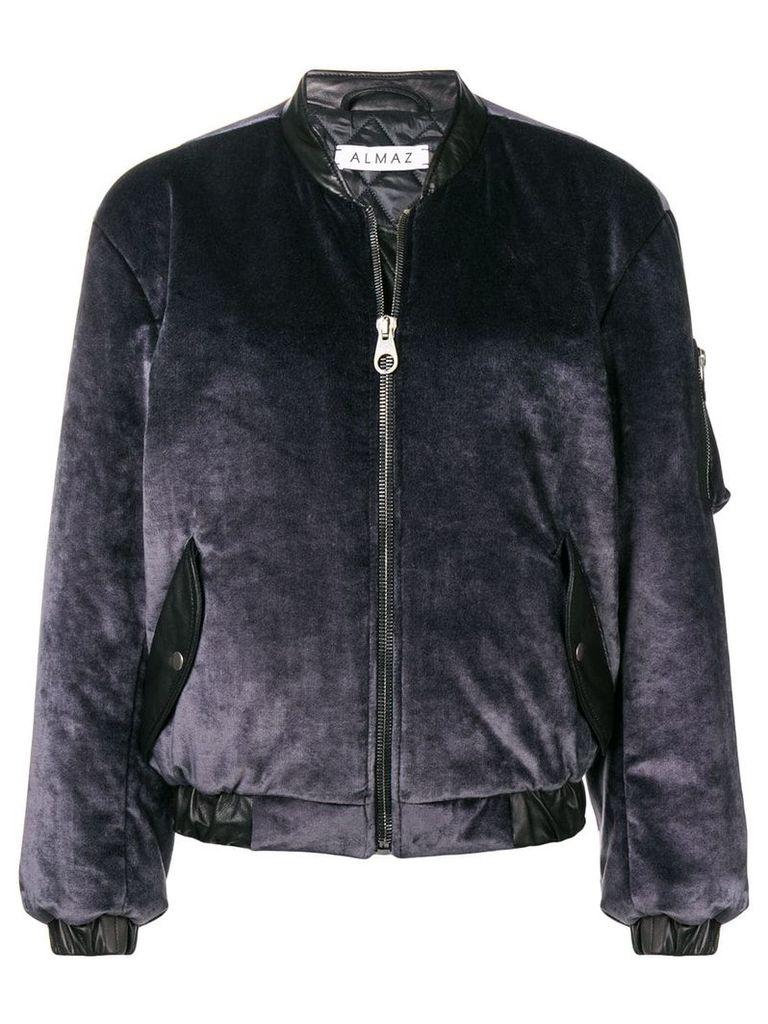 Almaz zipped velvet bomber jacket - Grey