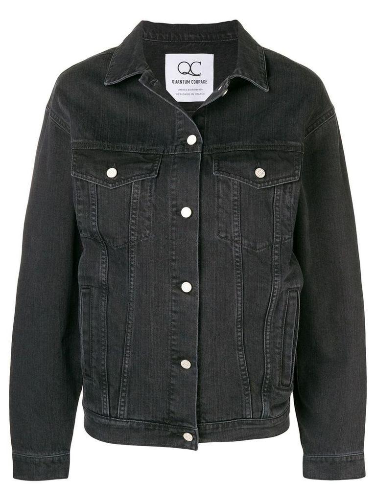 Quantum Courage Love Me Forever Or Never denim jacket - Black