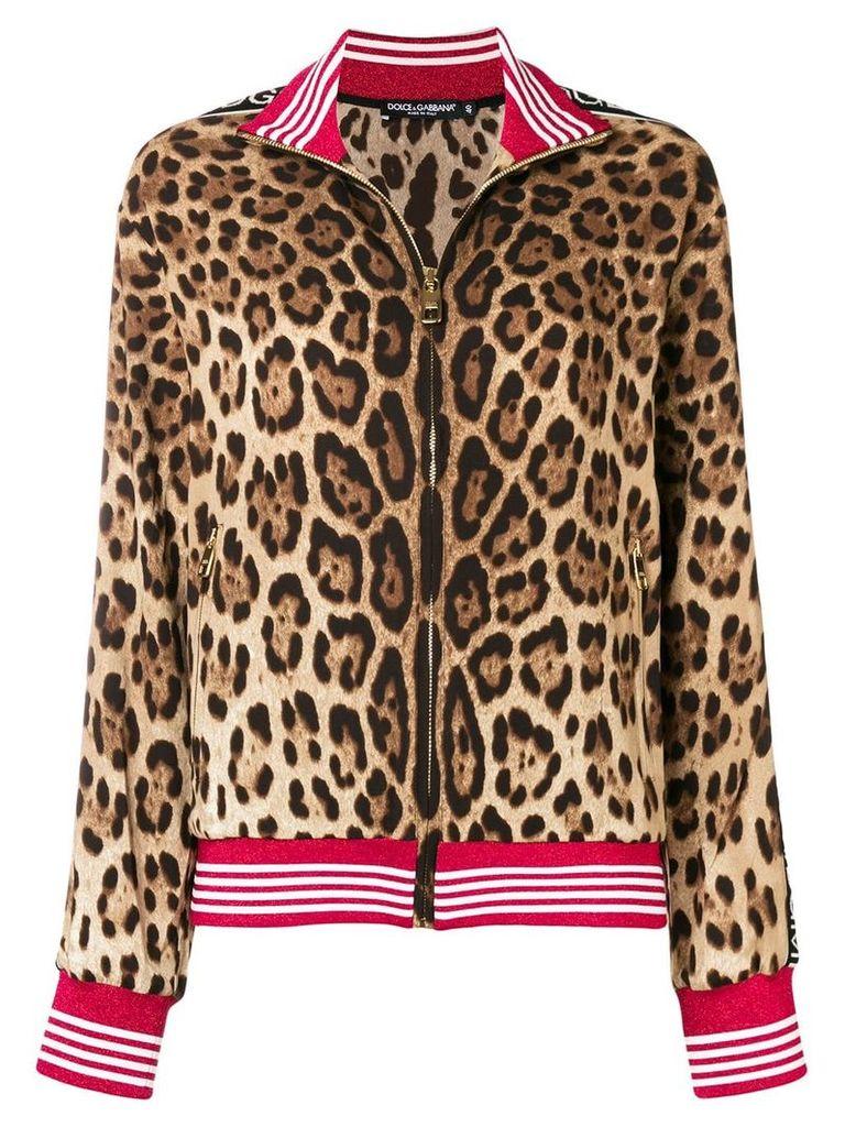 Dolce & Gabbana leopard print logo jacket - Neutrals