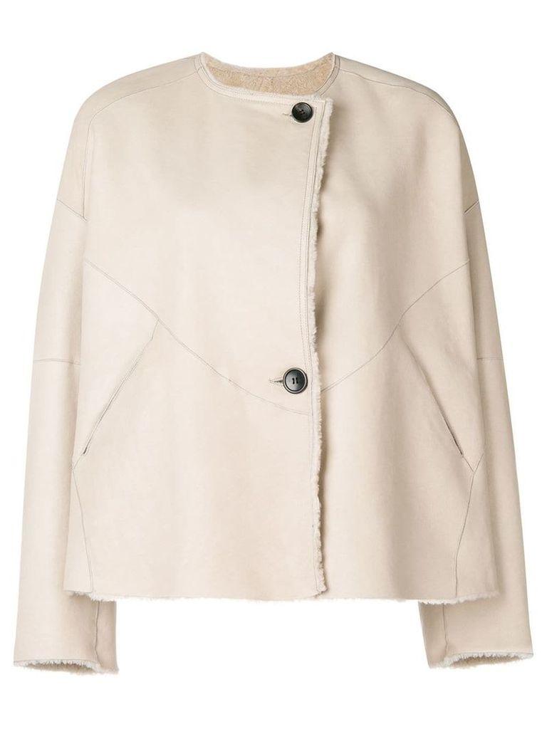 Isabel Marant reversible leather fur jacket - Neutrals