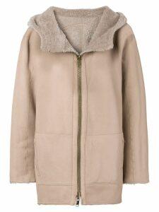 Sylvie Schimmel hooded shearling jacket - Neutrals