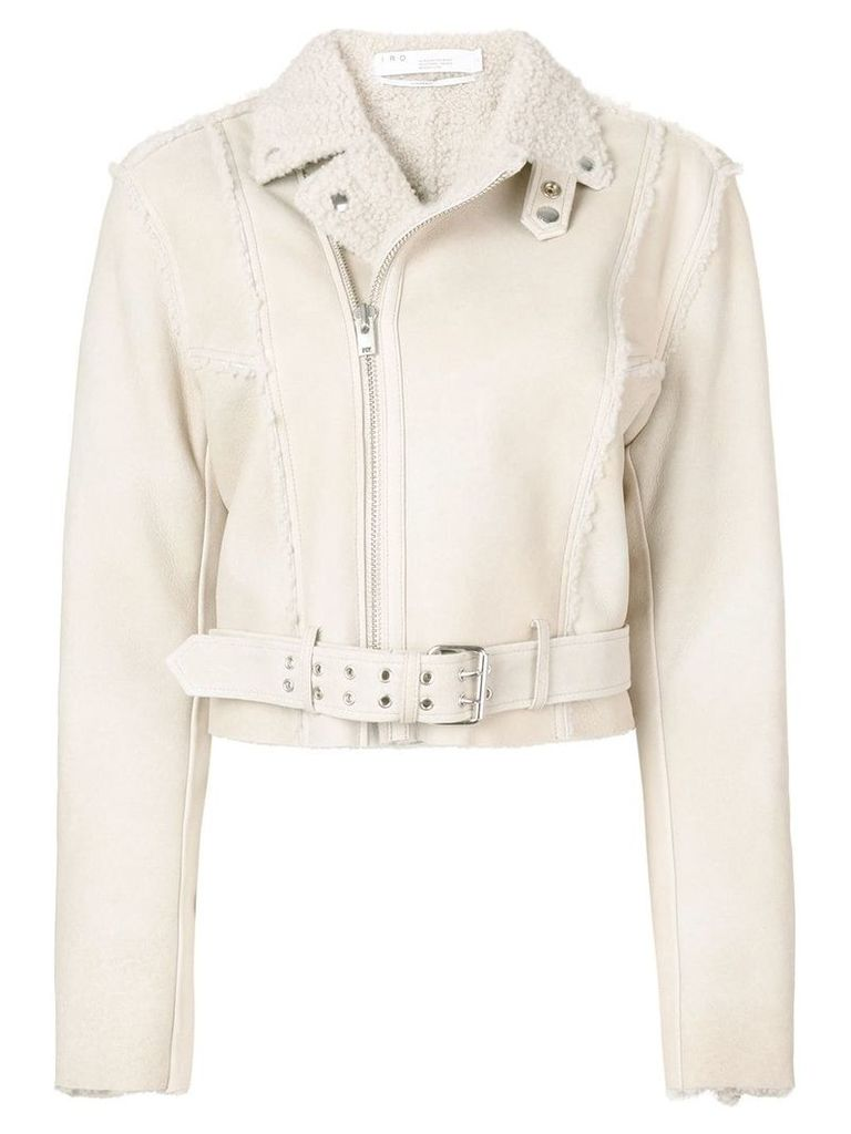 Iro zipped shearling jacket - Neutrals