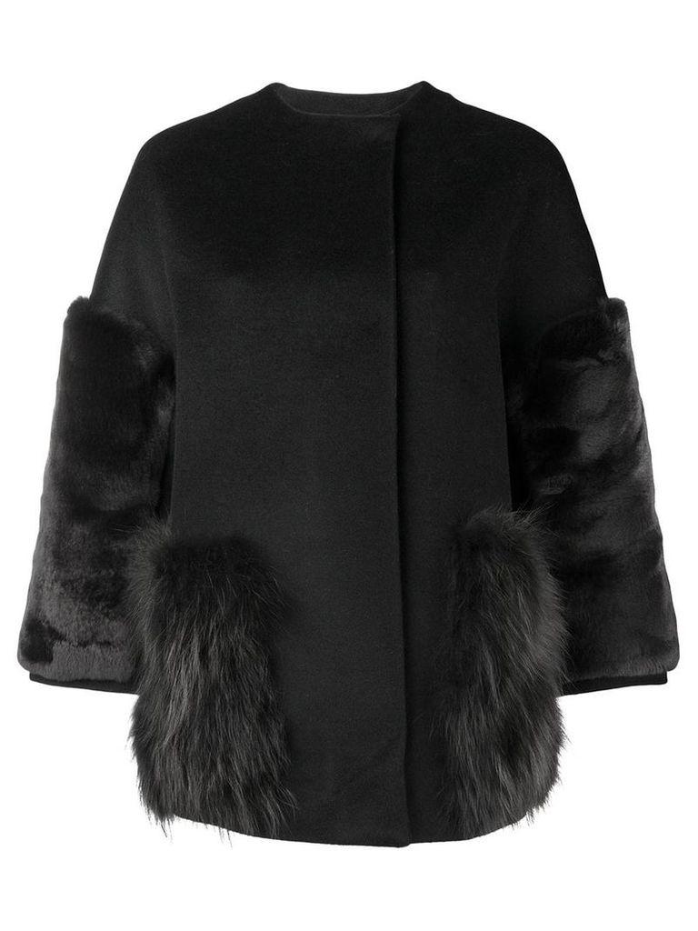 S.W.O.R.D 6.6.44 fur trimmed jacket - Black
