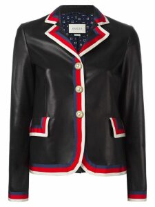 Gucci Sylvie web trim leather jacket - Black