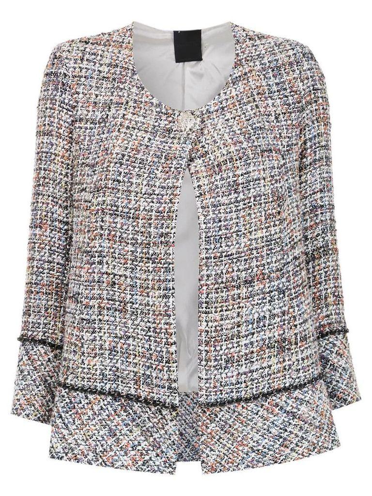 Andrea Bogosian chain detail tweed jacket - Grey