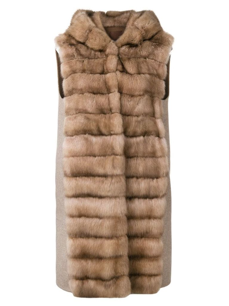 Liska sable fur gillet - Brown