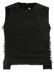Comme Des Garçons sheer detail waiscoat - Black