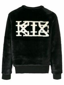 KTZ logo faux-fur sweatshirt - Black