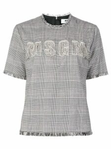 MSGM front embellished logo blouse s - Grey