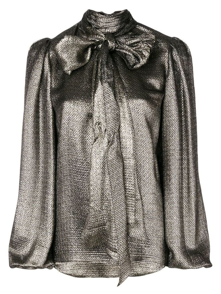 Saint Laurent metalized bow blouse - Metallic