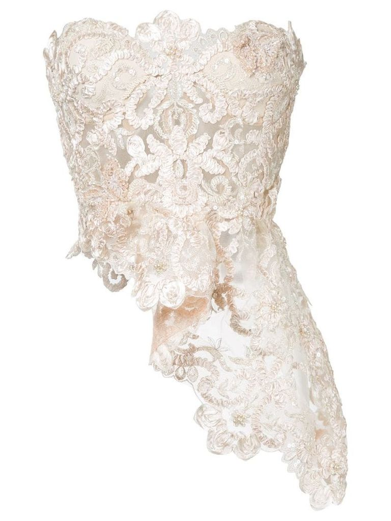 Nedret Taciroglu Couture lace embroidered top - Neutrals
