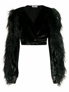Attico velvet and feather crop-top - Black