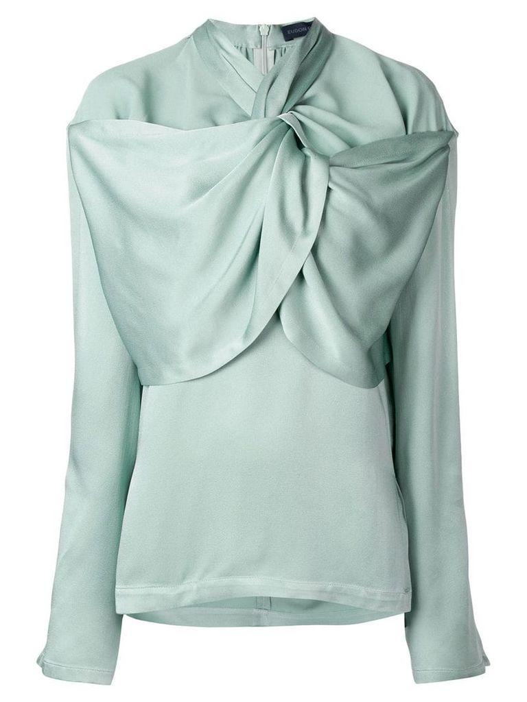 Eudon Choi gathered neckline blouse - Green