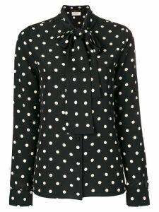 Saint Laurent polka dot pussy bow blouse - Black