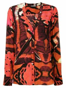 Alexander McQueen butterfly print blouse - Red