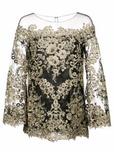 Marchesa embroidered boat neck top - Black