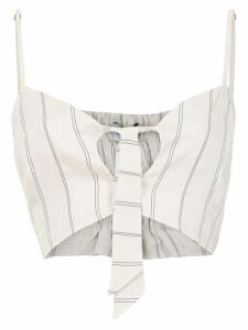 Olympiah Fiora linen cropped top - White