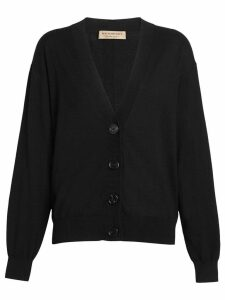 Burberry Vintage Check Detail Merino Wool Cardigan - Black