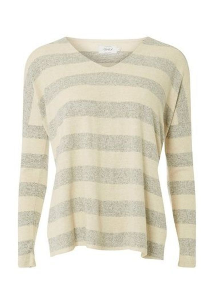 Womens **Only Cream And Grey Striped Knitted Top- Multi Colour, Multi Colour