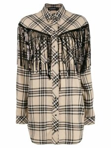 Filles A Papa fringed checked shirt - Neutrals