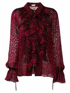 Saint Laurent sheer leopard print shirt - Red