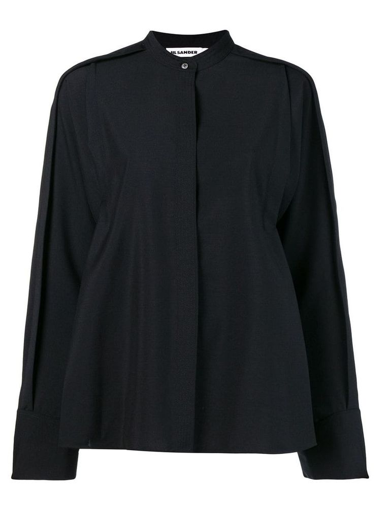 Jil Sander oversized mandarin collar shirt - Black