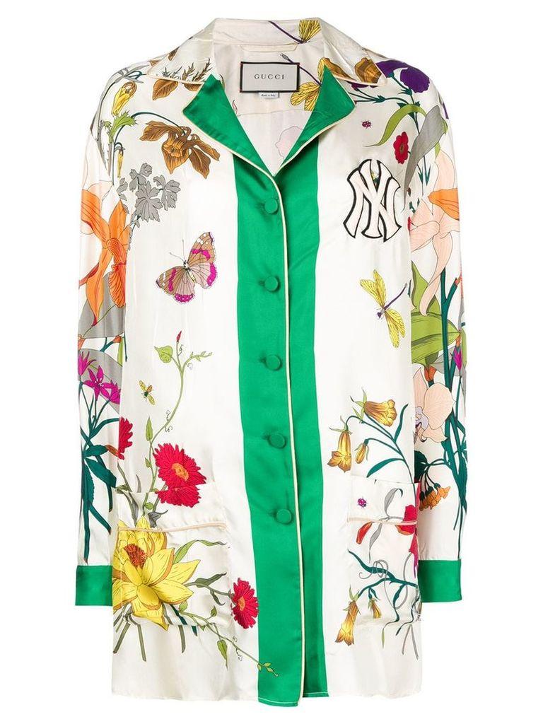 Gucci NY Yankees floral print shirt - White