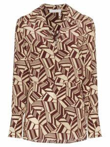 Chloé geometric print silk shirt - Brown