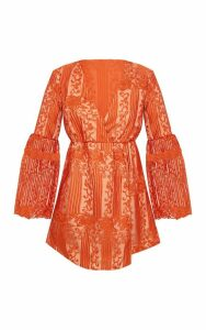 Rust Lace Flared Sleeve Wrap Skater Dress, Orange