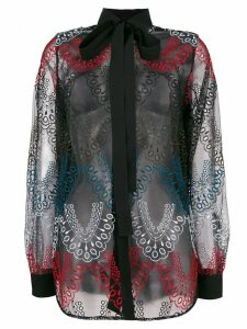 Elie Saab embroidered tulle shirt - Black