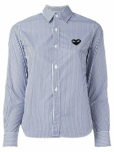 Comme Des Garçons Play embroidered heart striped shirt - Blue