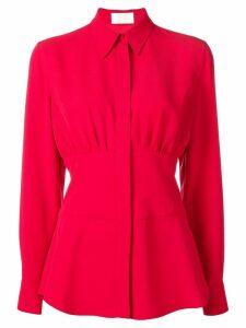 Sara Battaglia cinched waist shirt - Red