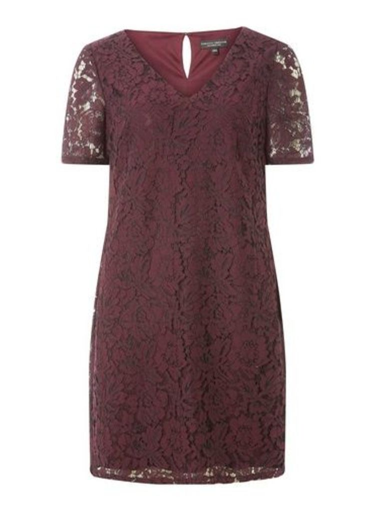 Womens Purple Two Tone Lace Shift Dress- Purple, Purple