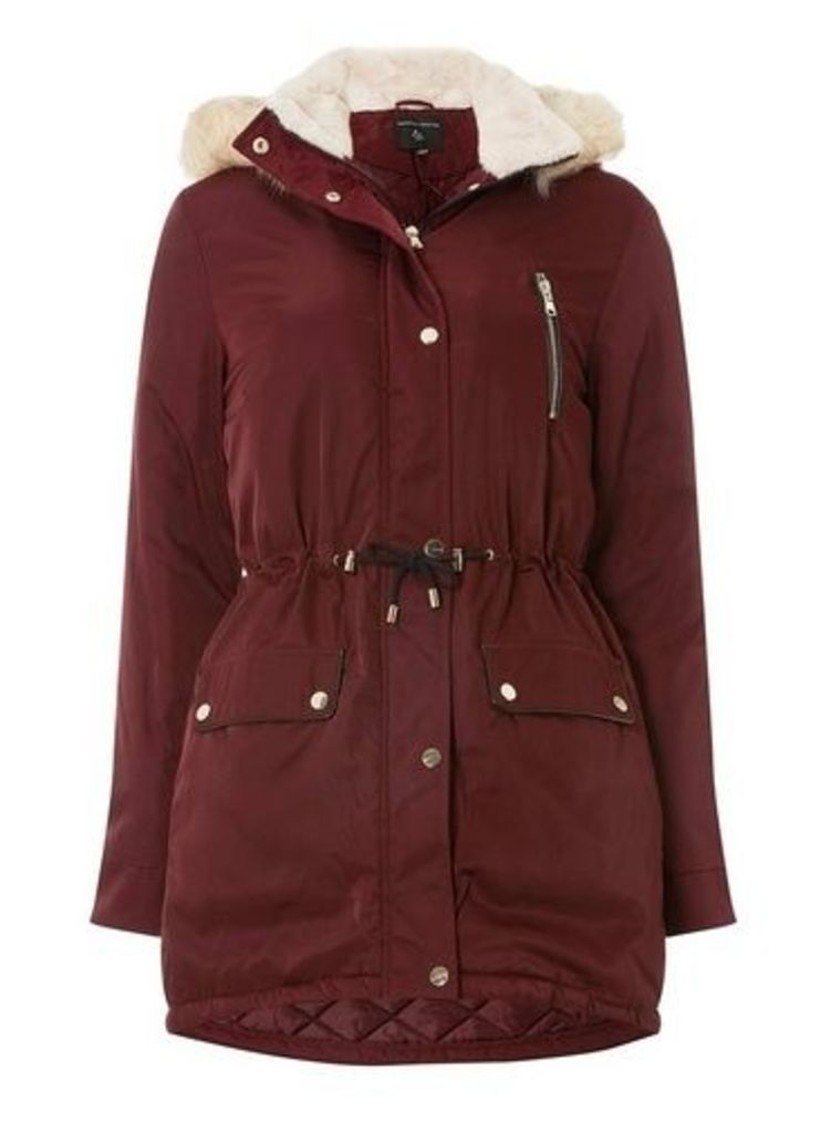 Womens Burgundy Faux Fur Parka Coat- Red, Red