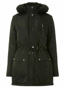 Womens Black Faux Fur Parka Coat- Black, Black