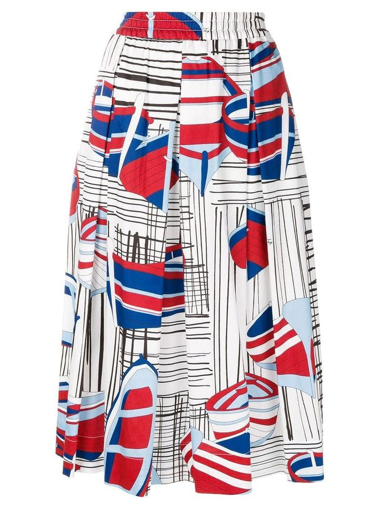 Fay printed A-line midi skirt - Multicolour