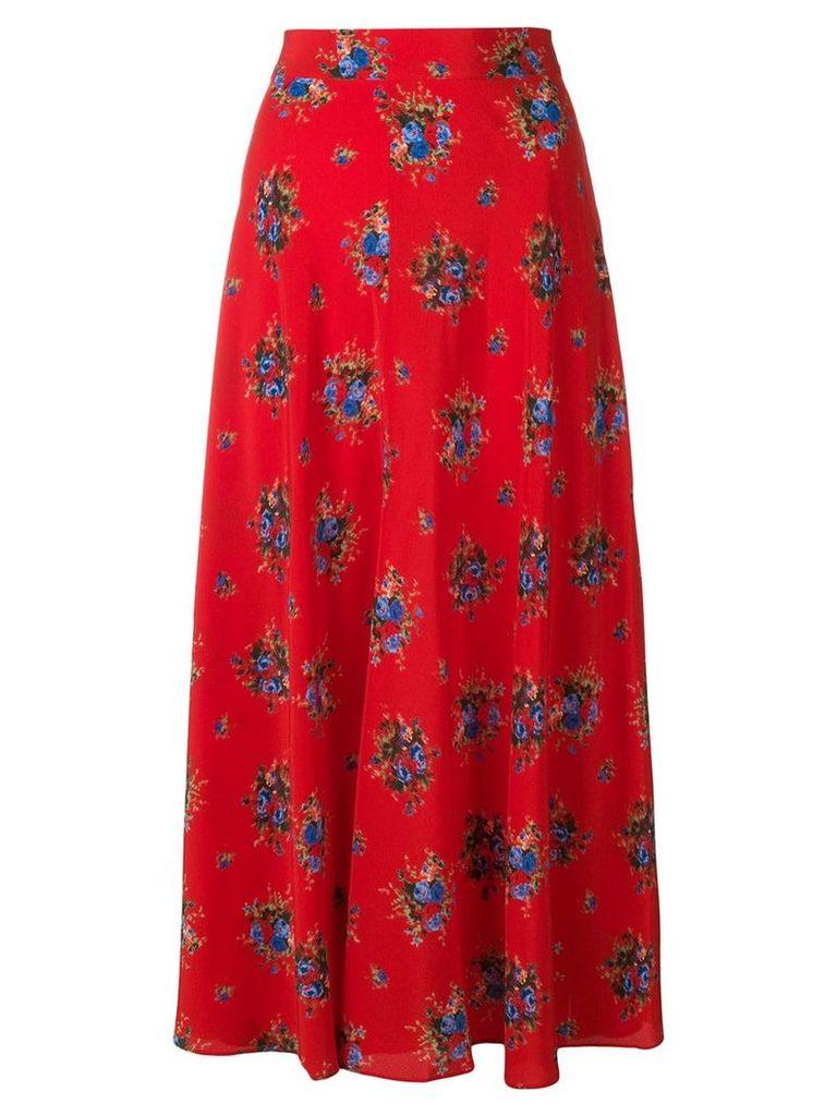 Ganni floral mid-calf skirt - Red