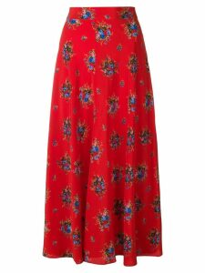 Ganni floral mid-calf skirt - Red