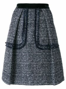 Talbot Runhof sequinned tweed skirt - Blue