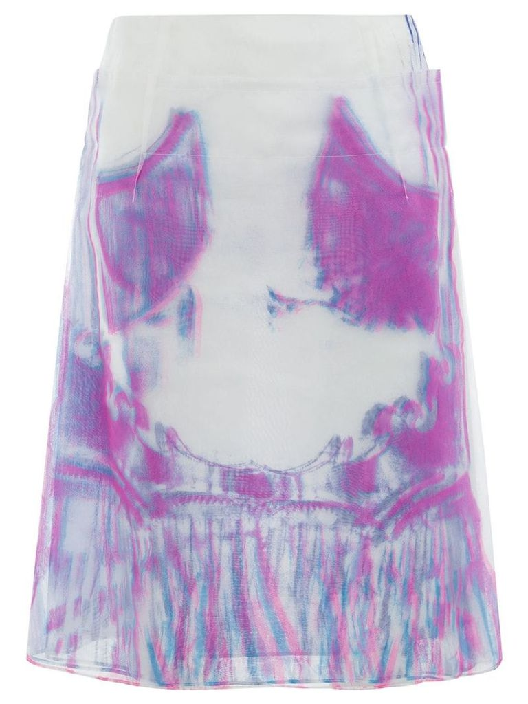 Maison Margiela psychedelic print tulle skirt - White